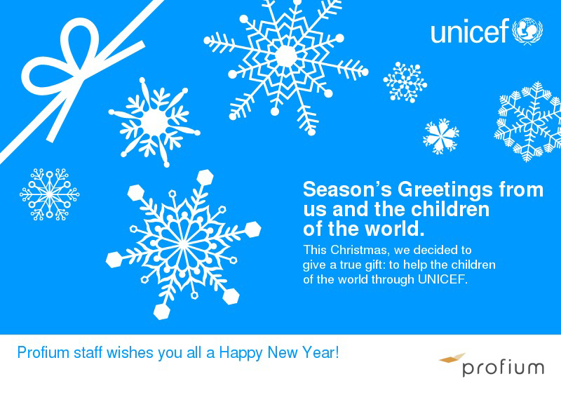 Profium, Christmas card, Unicef charity, seasons greetings